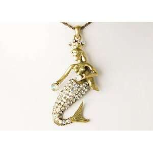 Inspired Gold Tone Crystal AB Rhinestone Miss Mermaid Pendant Necklace