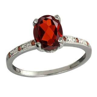 Ct Oval Red Garnet and Cognac Red Diamond 10k White Gold Ring