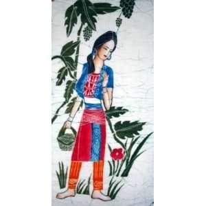 Beautiful Chinese Art Miao Batik Tapestry Miao Girl