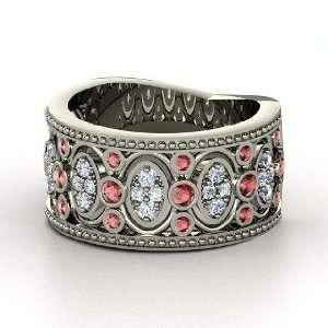 Renaissance Band, Palladium Ring with Red Garnet & Diamond