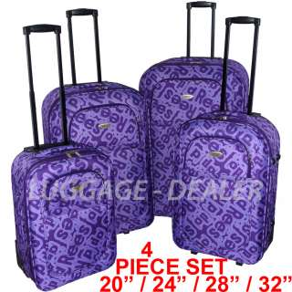 Piece Luggage Set Rolling Wheeled PURPLE Letters Hard Back