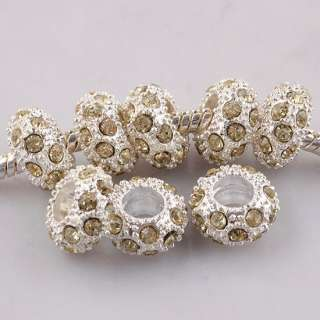 Silver 5P Crystal Rhinestone European Spacer Beads Fit Charm Bracelets