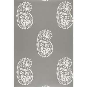 Indore Paisley Charcoal by F Schumacher Wallpaper Home