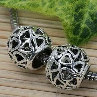 5Pc Tibetan Silver Hollow Out Ball Big Hole Bead Charm