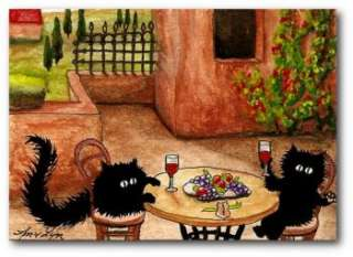 Peek & Boo Black Cats Travel Trip Tuscany Italy Wine Food ArT   ACEO