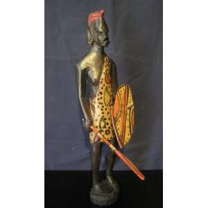 Masai Warrior from Africa, Hand carved, Hand painted wood Figurine, 13