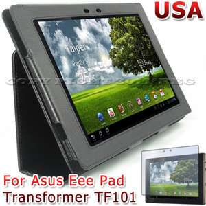 BLACK LEATHER CASE COVER+LCD SCREEN PROTECTOR FOR ASUS EEE PAD