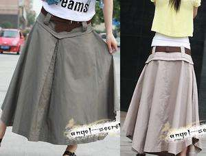 L31 cotton LONG SKIRT LOWER WAIST free belt beige green
