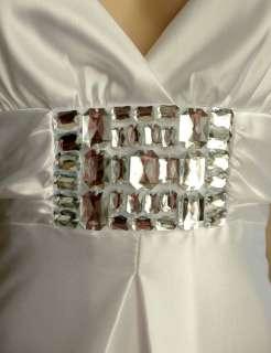 Jessica McClintock White Satin Rhinestone Gown Dress 2