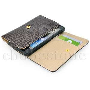 Brown Luxury Glossy Wallet Design Croco skin Leather Case for HTC HD7