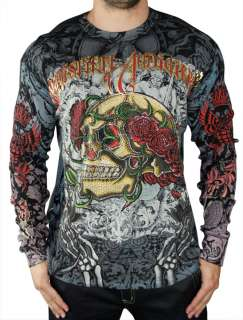 CHRISTIAN AUDIGIER Ed Hardy Mens Skull Rose Platinum Long Sleeve