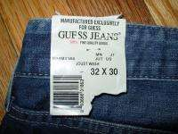 GUESS Low Rise Straight Leg Jeans Black Trim In JOUST Wash 32 x 30 NEW