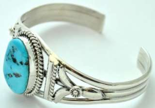 navajo sterling silver sleeping beauty turquoise bracelet made by mary