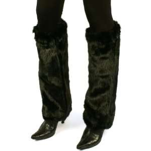 Fake Mink Fur Animal Dance Ski Long Leg Warmer Boot Shoe Cover Black