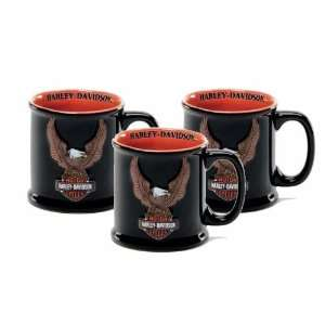 Set of 3 Harley Davidson Eagle Logo Coffee Mugs