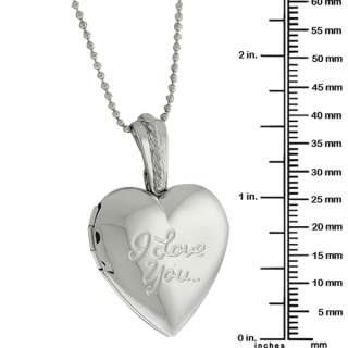 Stunning Heart Shape with I Love You Engraved Locket Pendant With 28