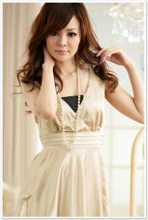 Korean Womens Cocktail V Neck Satin Dress,Size L,BLACK, 8116 BNWT