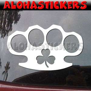 IRISH BRASS KNUCKLES Shamrock Vinyl Decal Sticker A62