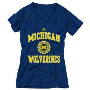 Michigan Wolverines Womens Heather Navy adidas Originals College Seal