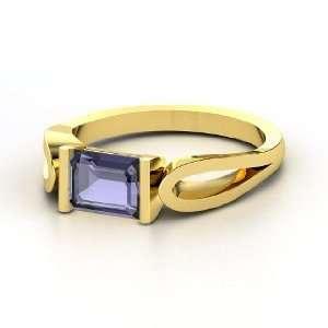 Loop de Loop Ring, Emerald Cut Iolite 14K Yellow Gold Ring