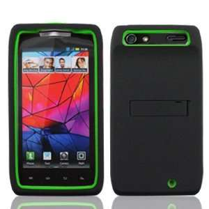 Skin Gel with Black Hard Snap On Protective Cover Case with Kick Stand