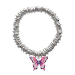 Large Hot Pink & Purple Butterfly Silver Plated Charm Links Bracelet