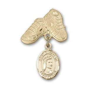 Badge with St. Elizabeth of Hungary Charm and Baby Boots Pin Jewelry