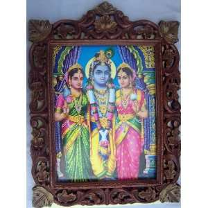 Lord Krishna with his friends poster painting in Wood Crafts Frame
