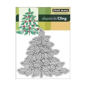 Penny Black Cling Rubber Stamp 4X5.25 Holly Tree; 2 Items