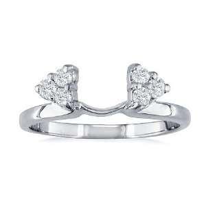 Enhancer Ring 1/4 Carat (Ctw) 14K White Gold Wrap Ring Jewelry