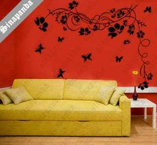 sinapanda Butterfly Vine Flower Wall Art Stickers, Wall Decals