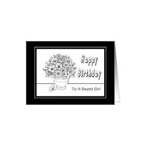 Happy Birthday Day For Girls Coloring Book Flowers Card Toys & Games