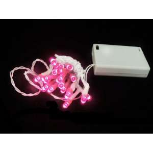 Set of 20 Battery Operated Pink LED Wide Angle Christmas Lights