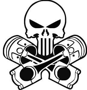 Cross Pistons Skull Vinyl Decal,Sticker,Car Graphic