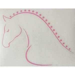 Sm Pink Line Art Braided Mane Horse Vinyl Car Decal Sticker   Left