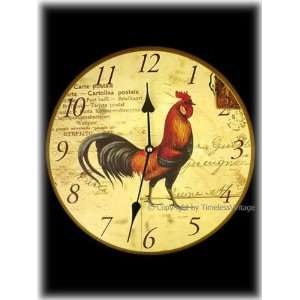 com Rooster French Country Wall Clock / Kitchen Decor Home & Kitchen