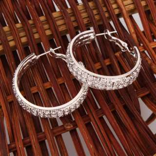 Super star Jolin favorite CZ stud thick hoop earrings