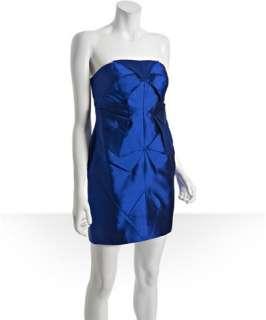 Nicole Miller cobalt silk dupioni pleated strapless dress