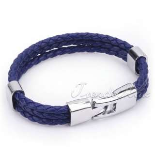 Fashion New Unisex MENS Plain Dark Blue Rope Surfer Leather Bracelet