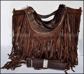 A5782 New coffee brown womens tassel bag shoulder handbag Fringe Tote