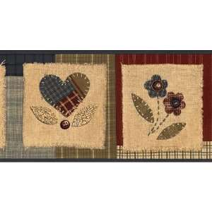Blue Country Patchwork Wallpaper Border: Home & Kitchen