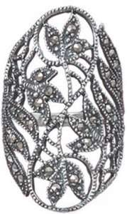 MARCASITE CUT OUT LEAF STERLING SILVER WOMENS RING SZ 9