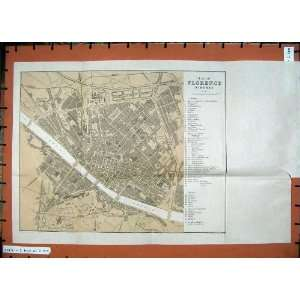 1921 Colour Map Northern Italy Street Plan Florence  Home