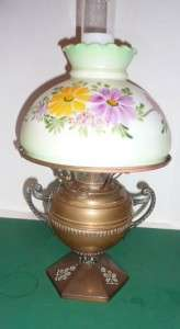 Solid Brass B&H oil lamp with green hand painted shade