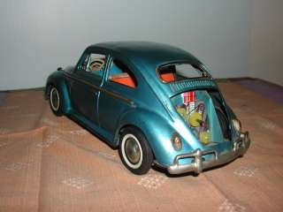 Battery Operated Toy Tin Volkswagen Beetle Bug Car w Driver