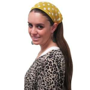 Yellow Large Polka Dot Wide Headband