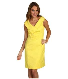 Tahari by ASL Petite Petite Roger Yellow Jacquard Dress