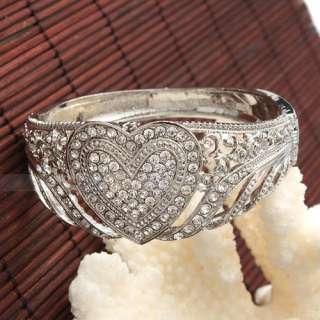 Stylish Heart Style Rhinestone Open Bangle Bracelet