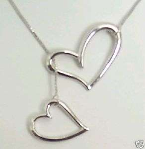 925 Sterling Silver open Heart Lariat Necklace Awsome