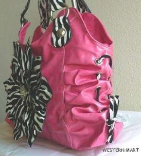 PINK BLACK WHITE ZEBRA FLOWER PETAL RHINESTONE BLING RUCHED SHOPPER